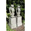 Griffin & lion with plinths set